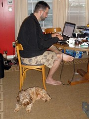 Aaron and His Guard Dog (Tobyotter) Tags: man male guy frank friend aaron working barefoot