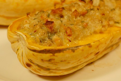 Nut & Sage Stuffed Delicata Squash by Eve Fox, Garden of Eating blog