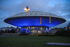 Evoluooooon 1 (M J M) Tags: lighting blue orange building netherlands canon flying twilight eindhoven flags philips ufo led 1950s mjm brabant saucer lightroom noord evoluon spaceage