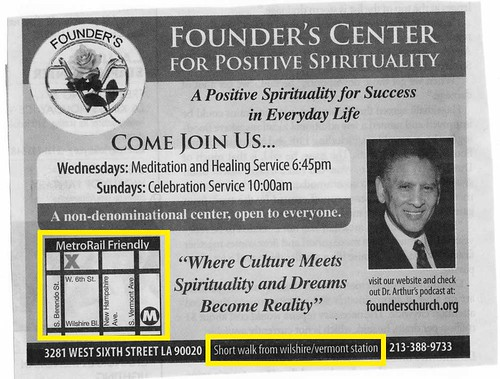 Founders Church adverstinment spotted in the Downtown News.