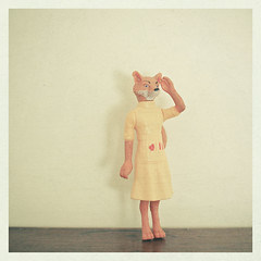 Hello Weekend! (_cassia_) Tags: red orange brown animal yellow toy lost cream apron scissors fox crafty discarded ruler foundobject yellowdress fantasticmrfox