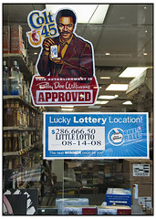 This Establishment is Billy Dee Williams Approved (swanksalot) Tags: chicago window beer advertising starwars ad 666 kitsch lottery clark vanburen booze approved billydeewilliams colt45 illinoislottery swanksalot sethanderson thisestablishment