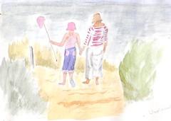girl & mother (taystar) Tags: seascape beach painting coastal beachseascape waterclour