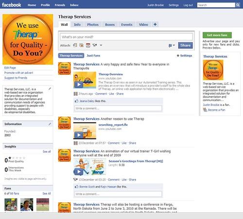 Screenshot of Therap in Facebook