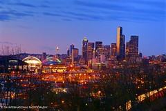 The Emerald City Illuminated (TIA International Photography) Tags: seattle city longexposure pink blue autumn trees sunset sky urban orange color skyline tia lights golden timelapse rainbow colorful downtown december cityscape i5 dusk stadium mariners pacificnorthwest spaceneedle seahawks lighttrails safecofield washingtonstate hue smithtower qwest washingtonmutual lightstreams interstate5 columbiacenter tosinarasi tiascapes tiainternationalphotography