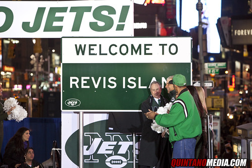 REVIS ISLAND New York Jets Pep Rally Times Square