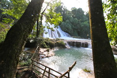 Agua Azul in Chiapas, Mexico (kjdrill) Tags: street travel mountains history water river mexico ruins market restaurants southern mayan jungle aguaazul oaxaca sancristobal palenque swinging zocalo fabrics 6638 waterfallsmisolhaplaying