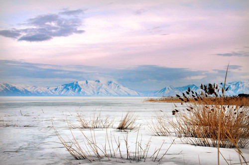 Utah lake from saratoga springs looking southeast