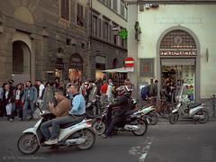 Florence bikers at dusk (JMichaelSullivan) Tags: 2002 italy florence italia dusk firenze biker portra mamiya7 mjsfoto1956 50v
