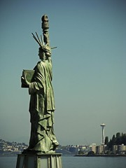 SEATTLE'S STATUE OF LIBERTY (Photocoyote) Tags: seattle sculpture usa westseattle spaceneedle pugetsound washingtonstate elliotbay thepacificnorthwest alkibeachpark boyscoutsofamerica theemeraldcity theevergreenstate canonpowershota720is strengthenthearmofliberty