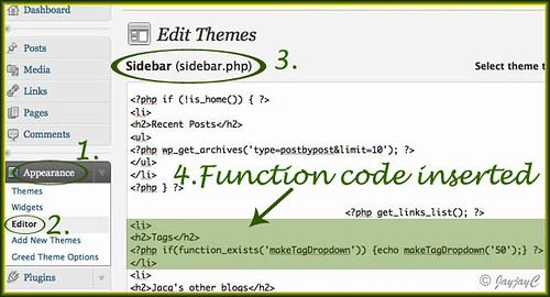 To illustrate how our site's theme file: Sidebar (sidebar.php) was configured with the function code to activate the Tag Dropdown Widget