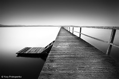 Long Jetty (-yury-) Tags: blackandwhite bw lake water jetty australia centralcoast calmness tuggerah theentrance longjetty