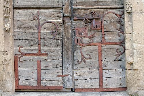 Porte de l'église romane de Mailhat (Lamontgie (63570), Puy-de-D