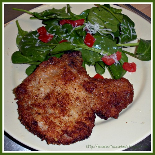 Crispy Pork Chop & Spinach Salad