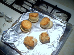 4 buttermilk biscuits with mutant Muppets-looking biscuit