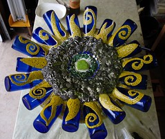 Wip - Cobalt Sunflower (Chris Emmert) Tags: blue green glass yellow mixed media bottles recycled mixedmedia swirl winebottles cobalt bicyclewheel fused glasstile papercrete upcycled tumbledglass mosaicchallenge chrisemmertcom