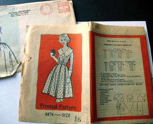 Vintage Mail Order Printed Pattern 4874 Dress