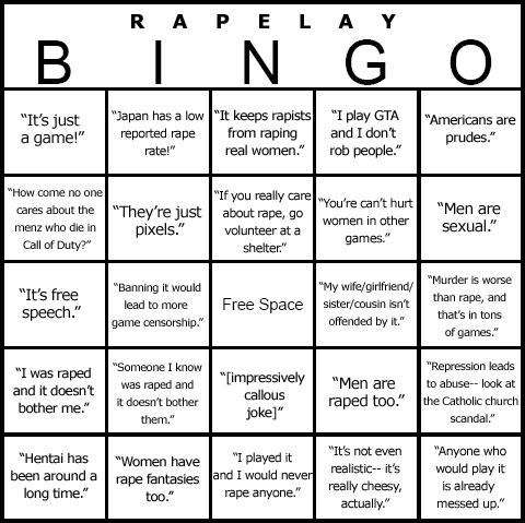 RapeLay BINGO Card - LOLSOB