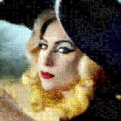 Lady Gaga (qthomasbower) Tags: portrait music art lady cow video eyes mosaic burger telephone mashup mosaics pop fanart visual popmusic glance gaga beyonce photomosaics mashups visualmashup ladygaga badromance qthomasbower famemonster ladygagatelephone ladygagaportrait ladygagamosaic ladygagatelephonemosaic ladygagaphotocollage