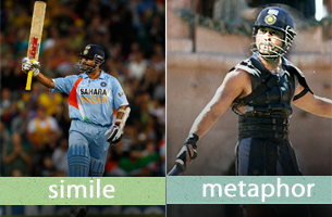 Pictorial representation of difference between simile and metaphor