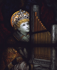 Lichfield, Staffordshire, cathedral, St. Chad's Head Chapel, window {Kempe}, detail (groenling) Tags: uk england window glass angel cathedral stainedglass organ staffordshire lichfield staffs kempe portative stchadsheadchapel mmiia bvmandstchad