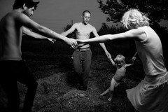Ring Around the Rosie (Sean Patrick Cook) Tags: family portrait blackandwhite baby chicago canon garden children kid child bokeh digging michigan farm 5dmarkii