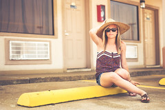 Katie (Grant Daniels) Tags: life portrait hat glasses photo still ray sandals grant katie straw safety daniels tones curb bans