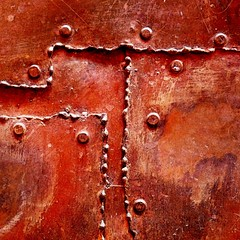 full metal door detail (msdonnalee) Tags: red abstract rot metal square mexico rouge iron explore squareformat mexique abstracto astratto rosso mexiko abstrakt messico abstrait photosfromsanmigueldeallende fotosdesanmigueldeallende
