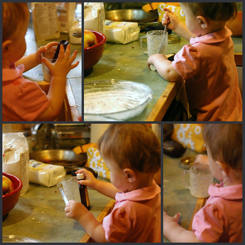 Lu helped me to bake for the first time.