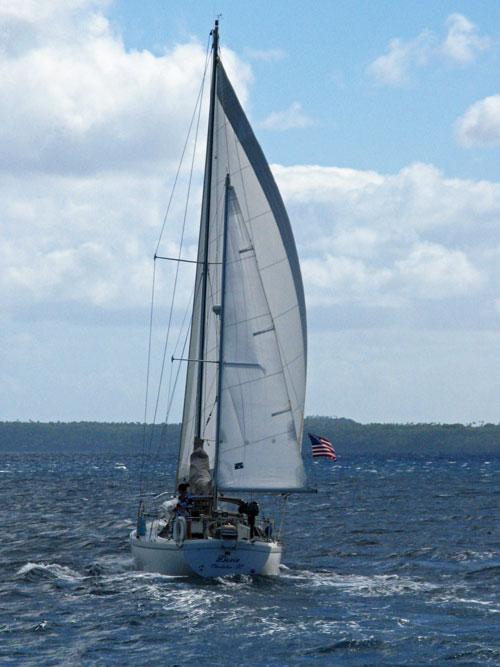 Dosia under sail in Tonga - September 2009