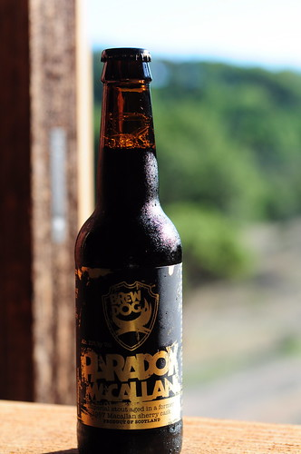 BrewDogs Paradox is an Imperial Stout (thats hearty dark beer for the uninitiated). They have several flavors, based on the whisky or sherry casks they age it in. This one was aged in one of the casks used to age MacCallan fine malt whisky.