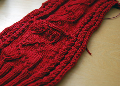 red cabled cardigan