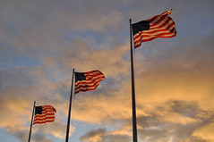 Jack London Square Sunset (Cory Dalva) Tags: sunset cloud clouds flag flags american
