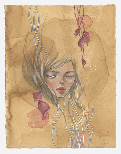 "Ina. 6""x8"". Mixed Media (Graphite, Watercolor & Acrylic) on Tea-stained Paper. ©2009."