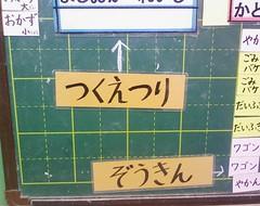 教室の当番表は「つくえつり」