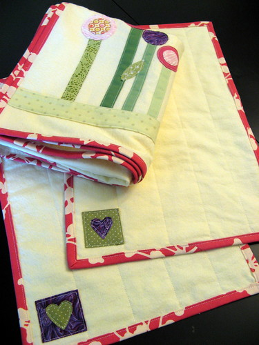 Baby blanket - Modern Garden with burp cloths