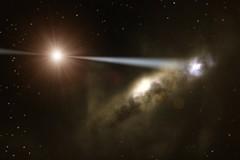 Agujero negro creando galaxia