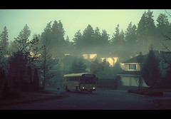 Bus du matin (sparth) Tags: seattle street morning trees houses bus fog washington foggy busstop neighborhood stop schoolbus sammamish 70200l 5dmarkii