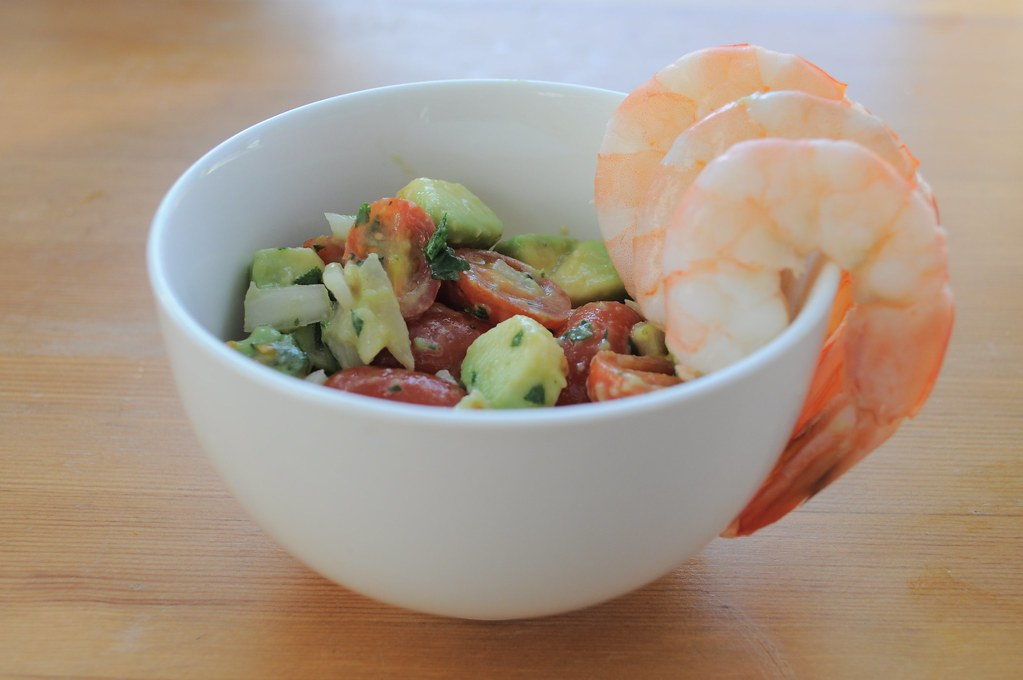 avocado and grape tomato salad with shrimp