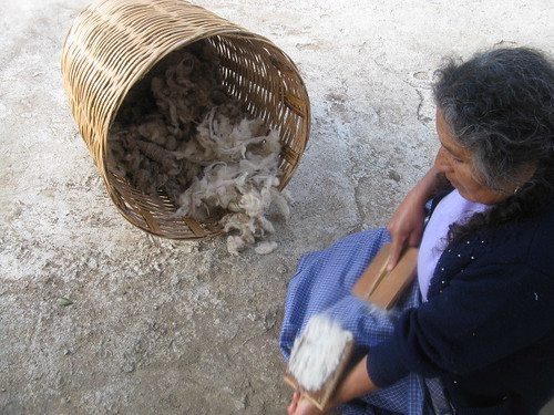 Cleaning the wool in Oaxaca Mexico
