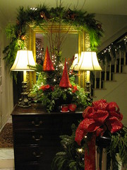MOBILE BAY ARTICLE ENTRANCE WE USED RED GLASS TREES IN WITH FRESH GREENS (LenaeDenson.com) Tags: christmas tree gold mirror orchids cone chocolate hydrangeas freshfruit redandgreen flocked