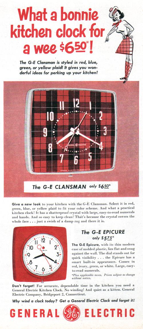 Vintage Ad #977: What a bonnie kitchen clock!