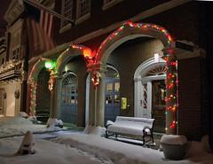 Fire station blanket (Aperturef64) Tags: christmas holiday snow art alexandria pentax scene va nightscene oldtown oldtownalexandria blizzardofdecember2009