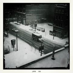 Randolph in the snow B+W (swanksalot) Tags: blackandwhite bw chicago ups westloop randolph iphone upstruck swanksalot sethanderson hipstamatic blackeyssupergrain