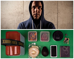 Nate Diptych (J Trav) Tags: portrait coffee fruit canon keys persona avocado diptych wallet whatsinyourbag lunchbox iphone armchairmedia theitemswecarry cheesebagel