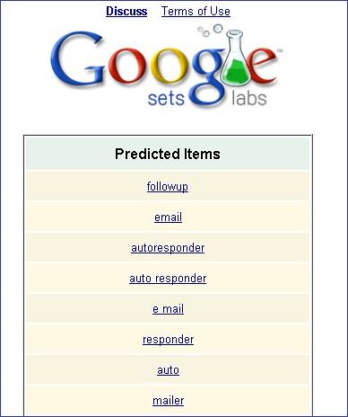 Email Marketing 2.0 results brainstorm via Google Sets