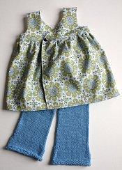 Early Meadow set - wrap-front dress & knit longies - medium