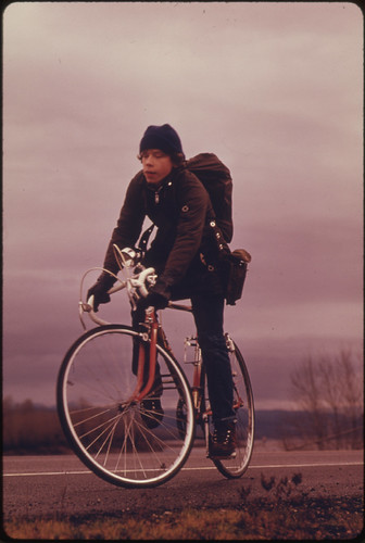 School Children, Were Forced to Use Their Bicycles on Field Trips During the Fuel Crisis in the Winter of 1974. There Was Not Enough Gasoline for School Buses to Be Used for Extra-Curricular Activities, Even During the Dark and Rainy Weather 02/1974