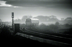 Late evening train, Kildare, Ireland. (2c..) Tags: ireland sky bw mist tree church landscape railway trains best railcar railways 2c kildare cokildare irishrailways irishtrains 5dmk2 72dpipreview