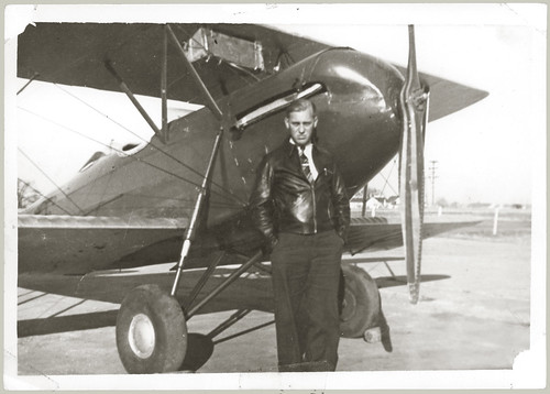 Staggerwing Beechcraft with pilot